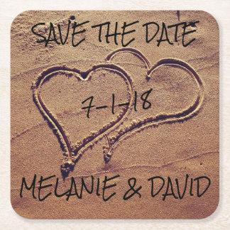 Herzen Save the Date gezeichnet im Rechteckiger Pappuntersetzer