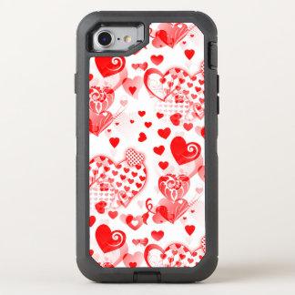 Herzen tätowieren nahtloses Muster + Ihre Ideen OtterBox Defender iPhone 8/7 Hülle