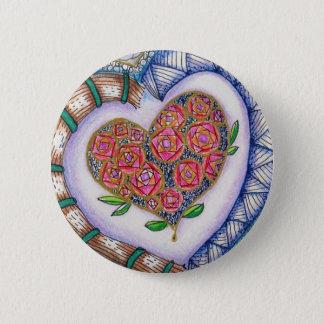 Herzen u. Blumen-Detail (2,25 Zoll rund) Runder Button 5,7 Cm