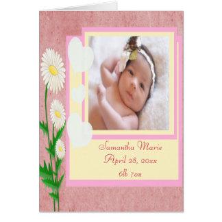 Herzen u. Gänseblümchen-Baby-Mädchen-Foto-Andenken Karte