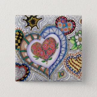 Herzen und Blumen (2-Zoll-Button) Quadratischer Button 5,1 Cm
