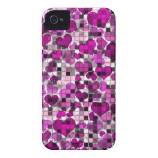 Herzen und Karos, lila iPhone 4 Cover