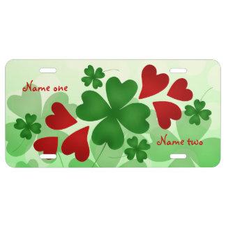 Herzen und -klee St. Patricks Tages US Nummernschild