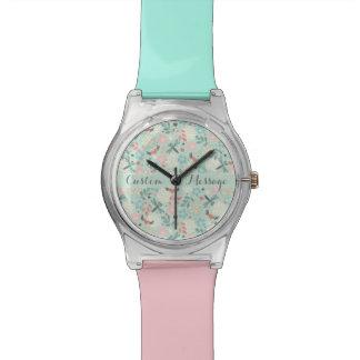 Herzen und Libellen-hübsches Blumen Uhr