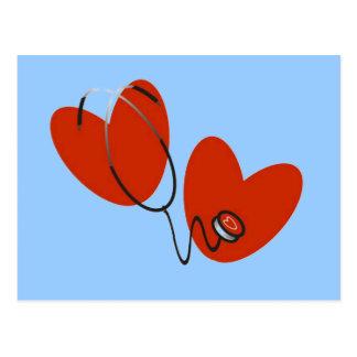 Herzen und Stethoskop-T - Shirts und Geschenke Postkarte