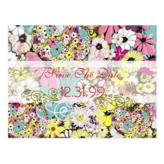 Herzen und wilde Blumen Save the Date Postkarte