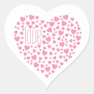 Herzen voll des Herz-Liebe-Rosas Herz-Aufkleber