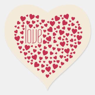 Herzen voll des Herz-Liebe-Rotes Herz-Aufkleber