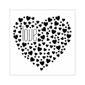 Herzen voll des Herz-Liebe-Schwarzen Gummistempel