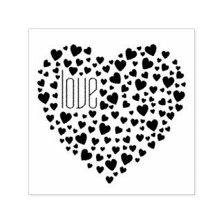 Herzen voll des Herz-Liebe-Schwarzen Permastempel
