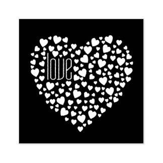 Herzen voll von Herz-Liebe-Weiß Gummistempel