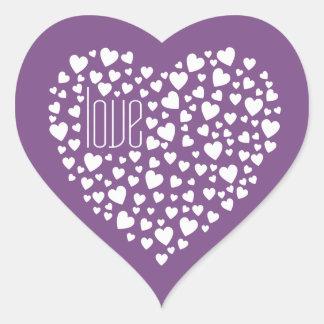 Herzen voll von Herz-Liebe-Weiß Herz-Aufkleber