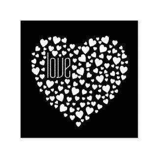 Herzen voll von Herz-Liebe-Weiß Permastempel