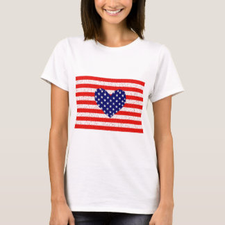Herzt-shirt amerikanischer Flagge Liebe I USA T-Shirt