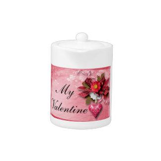 Herzund Blumevalentine-Teekanne