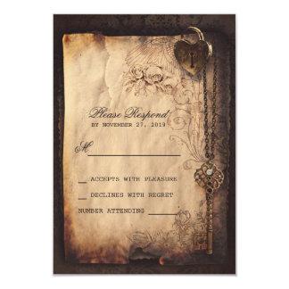 Herzverschluß u. Vintage Hochzeit 8,9 X 12,7 Cm Einladungskarte