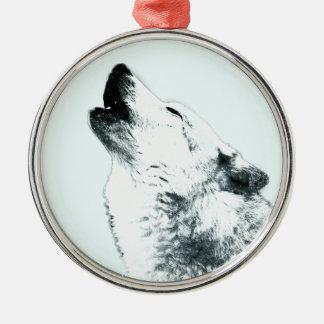 Heulender Wolf Rundes Silberfarbenes Ornament