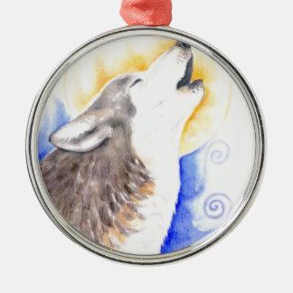 Heulenwolf Rundes Silberfarbenes Ornament