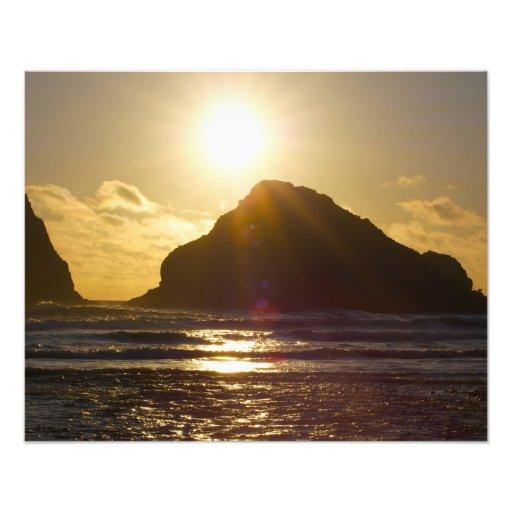 Heuschober-Sonnenuntergang-Fotodruck