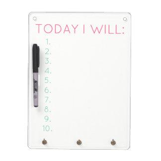Heute werde ich: Tägliche Produktivität u. Trockenlöschtafel