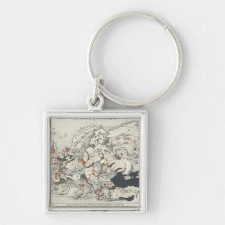 Heutiges Europe', 1887 Silberfarbener Quadratischer Schlüsselanhänger