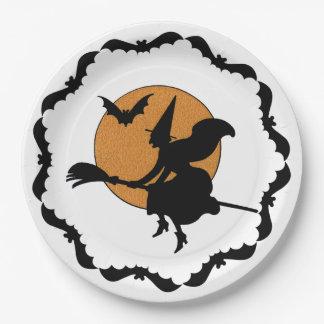 Hexe auf Besen-Halloween-Teller Pappteller