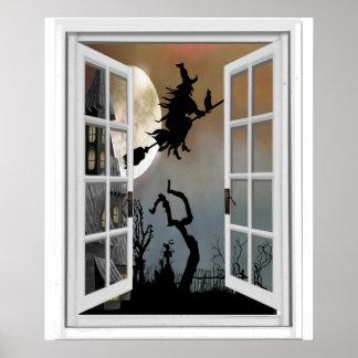 Hexe auf Broomstick-Fenster-Ansicht Halloween Poster