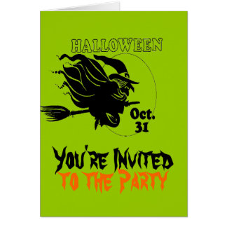 Hexe-Halloween-Party-Einladungs-Grün Karte