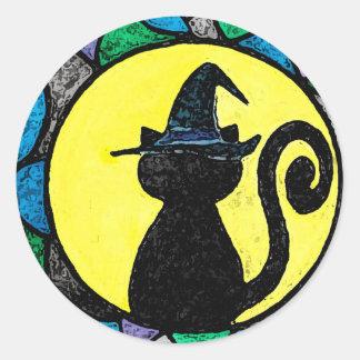 Hexe-Katzen-Aufkleber Runder Aufkleber