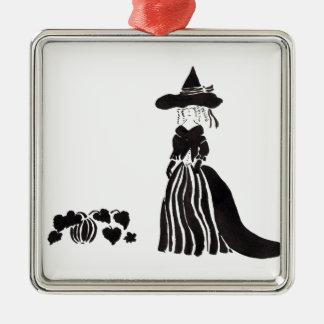 Hexe mit Kürbisen Quadratisches Silberfarbenes Ornament