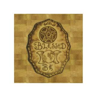 Hexe-Prim dreifacher Mond u. Pentagramm-Zeichen Holzdruck