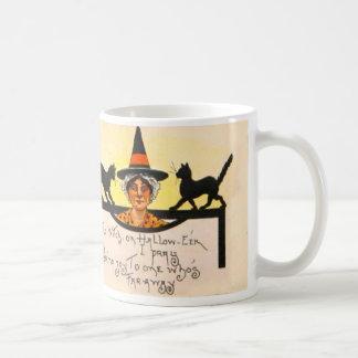 Hexe-schwarze Katze Vintages Halloween Kaffeetasse