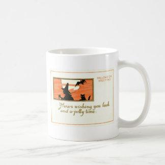 Hexe-schwarze Katzen-Schläger-Vollmond Kaffeetasse