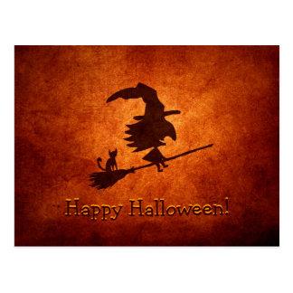 Hexe-und Katzen-Silhouette-Fliegen auf Broomstick Postkarte