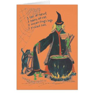 Hexen brauen glückliches Halloween mit Katze Karte