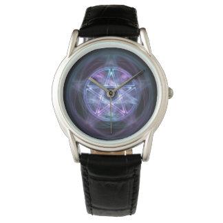 Hexerei-blauer FeuerPentagram Armbanduhr