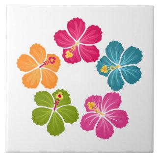 Hibiskus-Blumen Große Quadratische Fliese