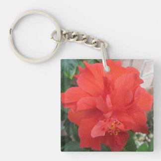 Hibiskus-Pflanzen-rotes Blumen Schlüsselanhänger