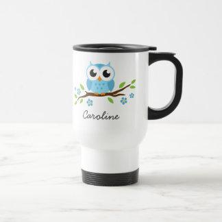hibou bleu d'ute sur le nom personnalisable de mug de voyage