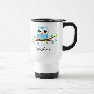 hibou bleu d'ute sur le nom personnalisable de mug de voyage en acier inoxydable