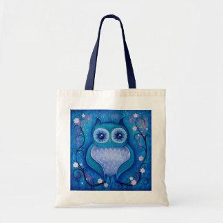 hibou bleu sac en toile budget