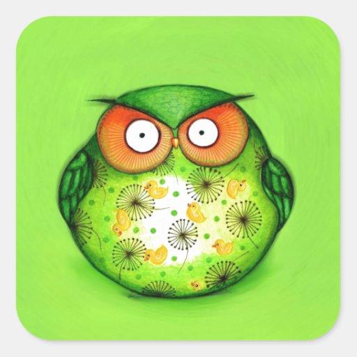 Hibou drôle vert stickers carrés