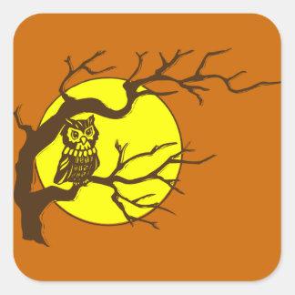 Hibou et lune stickers carrés