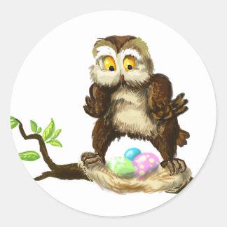 Hibou heureux de Pâques Sticker Rond