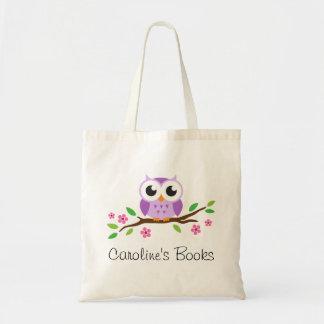 Hibou pourpre mignon sur la bibliothèque personnal sac fourre-tout
