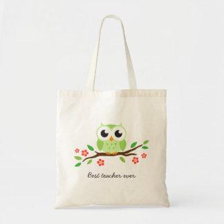 Hibou vert mignon sur le meilleur professeur de br sac en toile budget