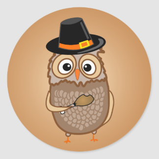 Hiboux lunatiques de thanksgiving sticker rond