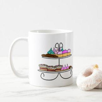 High tea - Mok illustratie met cupcakes en koekjes Kaffeetasse