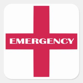 Hilfe-Versorgungen/Notausrüstung Quadratischer Aufkleber