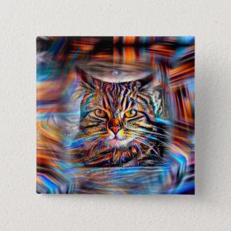 Hilflos Farbin der abstrakten Revolutions-Katze Quadratischer Button 5,1 Cm